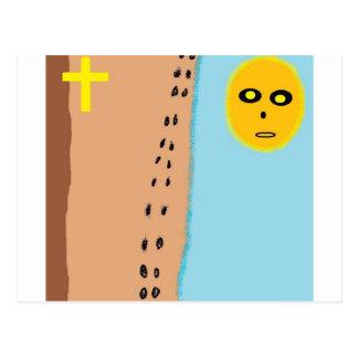 footprints in sand postcard