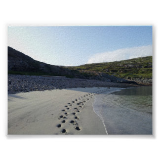 Footprints in Sand-Tamana Beach, Harris, Scotland Poster