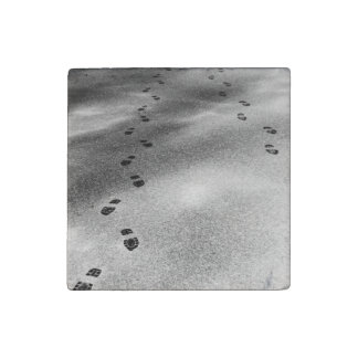 Footprints in Snow Stone Magnet