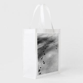 Footprints in Snow Grocery Bag