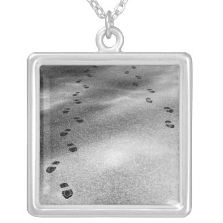 Footprints in Snow Square Pendant Necklace
