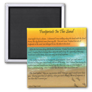 Footprints in the Sand 2 Inch Square Magnet