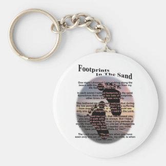 Footprints in the Sand... Basic Round Button Keychain