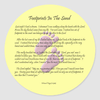 Footprints In The Sand Classic Round Sticker