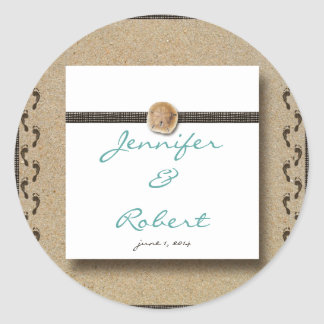 Footprints in the Sand  Envelope Seal Classic Round Sticker