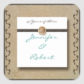Footprints in the Sand  Envelope Seal Square Sticker