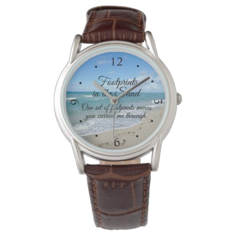 Footprints in the Sand Inspirational Christian Watch