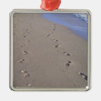 Footprints in the Sand Metal Ornament