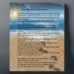 "Footprints in the Sand Plaque<br><div class=""desc"">A Painting of a beach with footprints and the poem footprints in the sand.</div>"