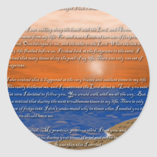 Footprints in the Sand Poem Classic Round Sticker