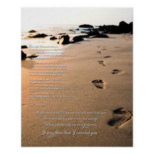 photo relating to Footprints in the Sand Poem Printable Version named Footprints inside of the Sand Poem Poster