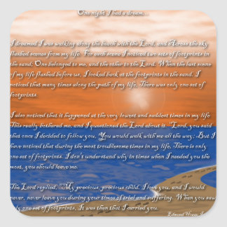 Footprints in the Sand Poem Square Sticker
