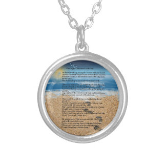 Footprints in the Sand Round Pendant Necklace