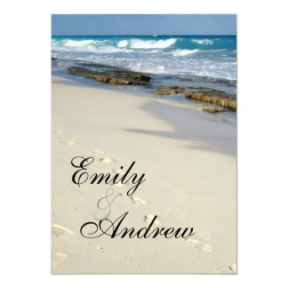 Footprints in the sand RSVP 5x7 Paper Invitation Card
