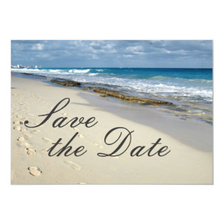 """Footprints in the sand """"save the date"""" 5x7 paper invitation card"""