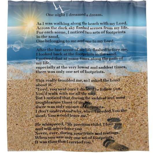 Footprints in the Sand Shower Curtain   Zazzle.com