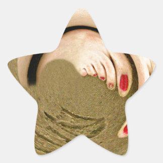 Footprints in the sand star sticker
