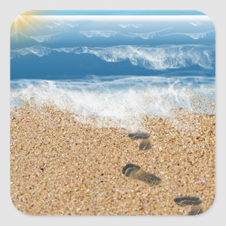 Footprints in the Sand Square Sticker