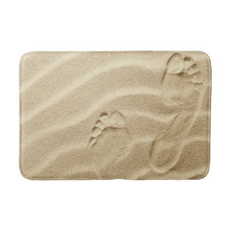 Footprints In The Sand Waves As Background Bathroom Mat