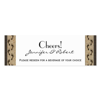 Footprints in the Sand Wedding Drink Tickets Business Card