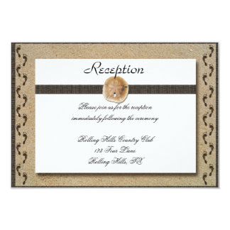 Footprints in the Sand Wedding Reception 3.5x5 Paper Invitation Card