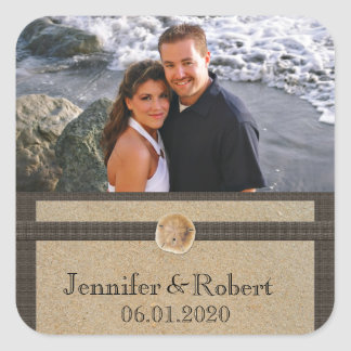 Footprints in the Sand Wedding Square Sticker