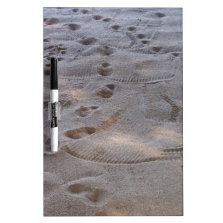 footprints in the sand white board
