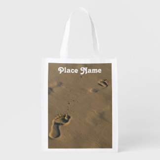 Footprints in the Sand Reusable Grocery Bags
