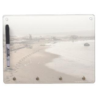 Footprints on a Foggy Beach Dry Erase Board