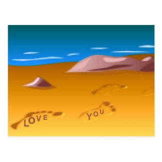 Footprints on Beach Postcard