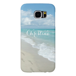 Footprints on Sand Beach Pretty Girly Personalized Samsung Galaxy S6 Cases