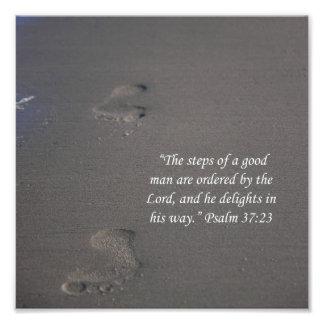 Footprints on Sand Psalms 37:23 Scripture Print Photo