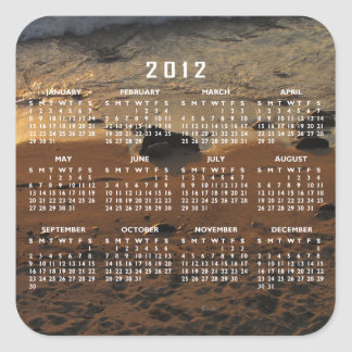 Footprints on the Beach; 2012 Calendar Square Sticker