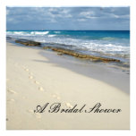Footprints on the beach bridal shower invitations