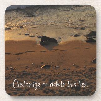 Footprints on the Beach; Customizable Drink Coaster