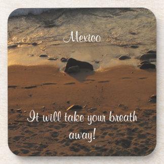 Footprints on the Beach; Mexico Souvenir Beverage Coaster