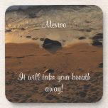 Footprints on the Beach; Mexico Souvenir Coasters