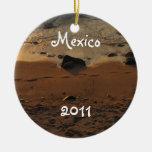 Footprints on the Beach; Mexico Souvenir Ornaments