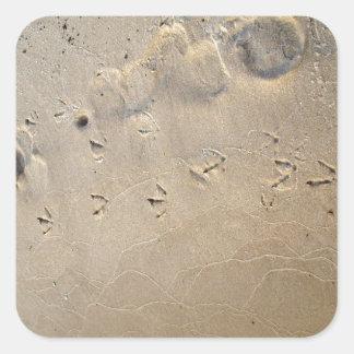footprints on the beach square sticker