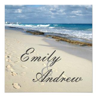 "footprints on the beach wedding invitation 5.25"" square invitation card"