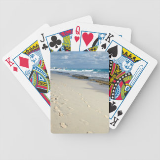 footprints on the sand deck of cards
