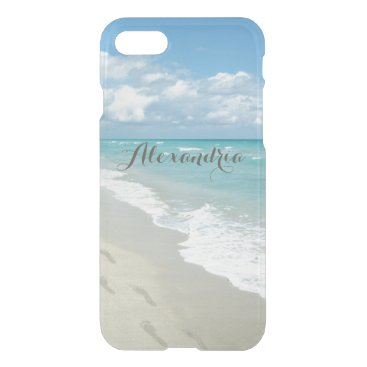Beach Themed Footprints on White Sandy Beach, Pretty Aqua Blue iPhone 7 Case