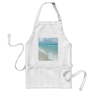 Footprints on White Sandy Beach, Scenic Aqua Blue Adult Apron