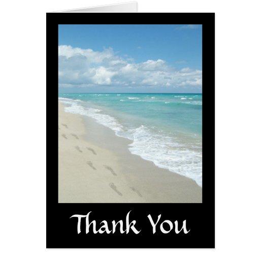 Footprints on White Sandy Beach, Scenic Aqua Blue Greeting Card