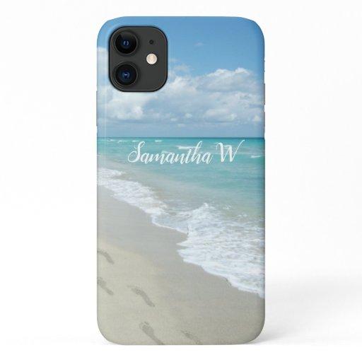 Footprints on White Sandy Beach, Scenic Aqua Blue iPhone 11 Case