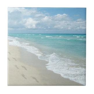 Footprints on White Sandy Beach, Scenic Aqua Blue Ceramic Tile