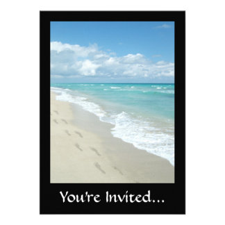 Footprints on White Sandy Beach, Scenic Aqua Blue Custom Announcements