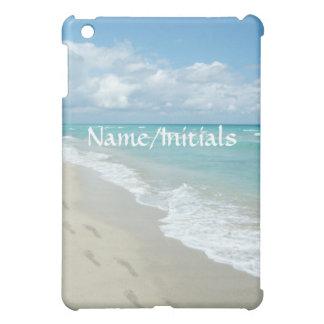 Footprints on White Sandy Beach, Scenic Aqua Blue Case For The iPad Mini