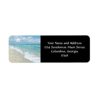 Footprints on White Sandy Beach, Scenic Aqua Blue Return Address Label