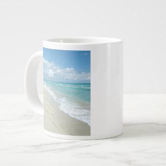 Footprints on White Sandy Beach, Scenic Aqua Blue Large Coffee Mug